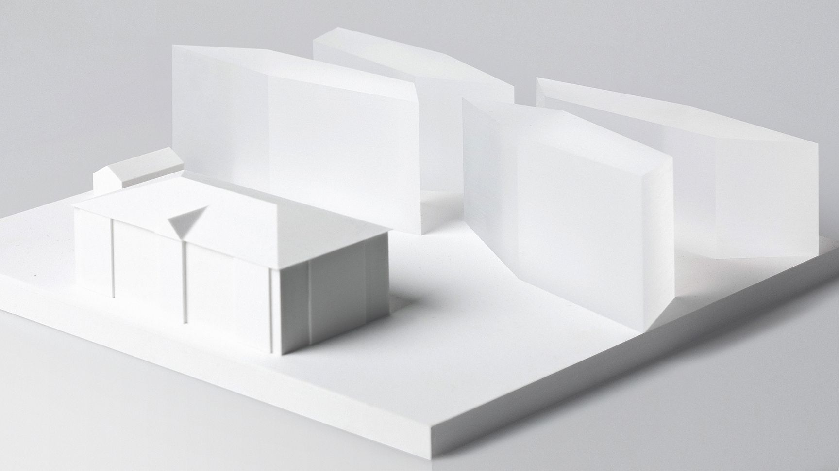 Porvoo Municipal Office Building. Scale model 1:400. CNC cut acrylic and plastic.